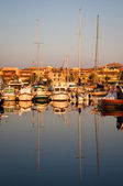 Yachts in port at dawn — Stock Photo