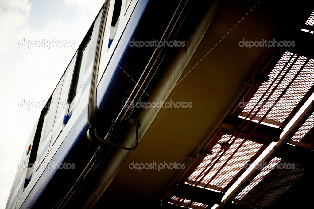 High speed monorail train closeup. — Stock Photo #3506396