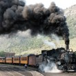Departure of an old steam locomotive — Stock Photo