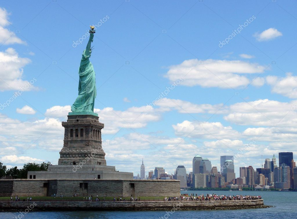 Miss Liberty has the best view to Manhattan.  Stock Photo #3466526