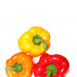 Triple stacked peppers — Stock Photo