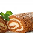 Pumpkin roll upclose with mint — Stock Photo #3459722