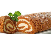 Pumpkin roll upclose with mint — Stock Photo