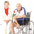 Handicap senior couple isolated on white — Stock Photo