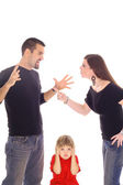 Bambino e genitori combattendo bloccato in mezzo isolato su bianco — Foto Stock