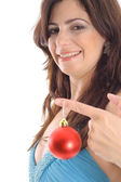 Woman holding Christmas ornament — Stok fotoğraf