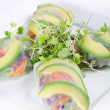Spring roll wrapper with microgreens - Stock Photo