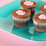 Raspberry filled chocolate cupcakes angle — Stock Photo #3521198