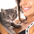 Gorgeous woman with kitty - Stock Photo