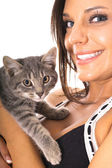Gorgeous woman with kitty — Stock Photo