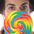 Woman with huge lollipop up close — Stock Photo #3705966