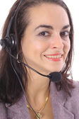 Brunette with headset — Stock Photo