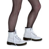 White Boots and Fishnets — Stock Photo