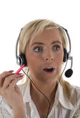 Surprised Customer Services Operator — Stock Photo