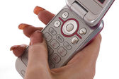 Texting on Phone Keypad — Stockfoto