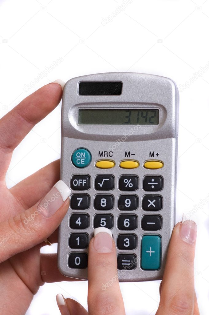 A simple calculator in a woman's hand — Stock Photo #3460847