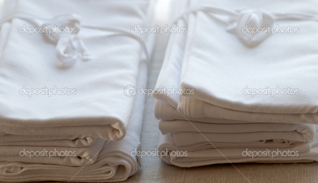 A pile of clean linen towels — Stock Photo #3461625