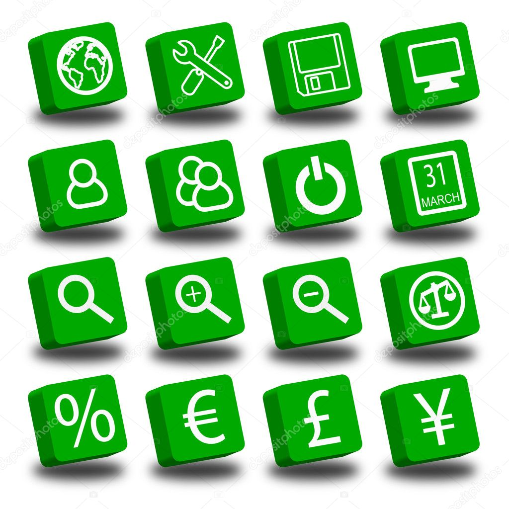 A collections of 16 green icons  Stock Photo #3459365