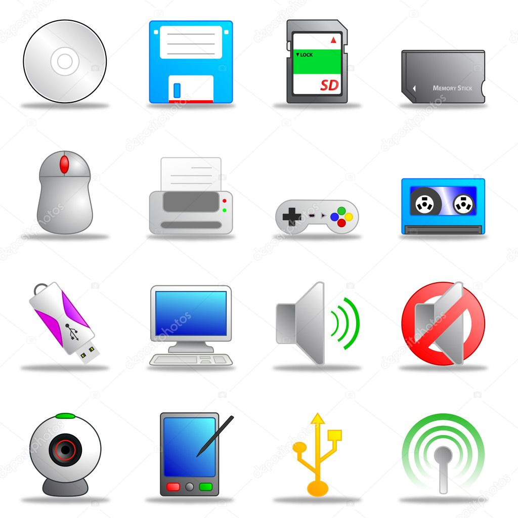 A collection of sixteen web icons and buttons  Stock Vector #3468007