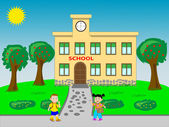 Go to school — Vector de stock
