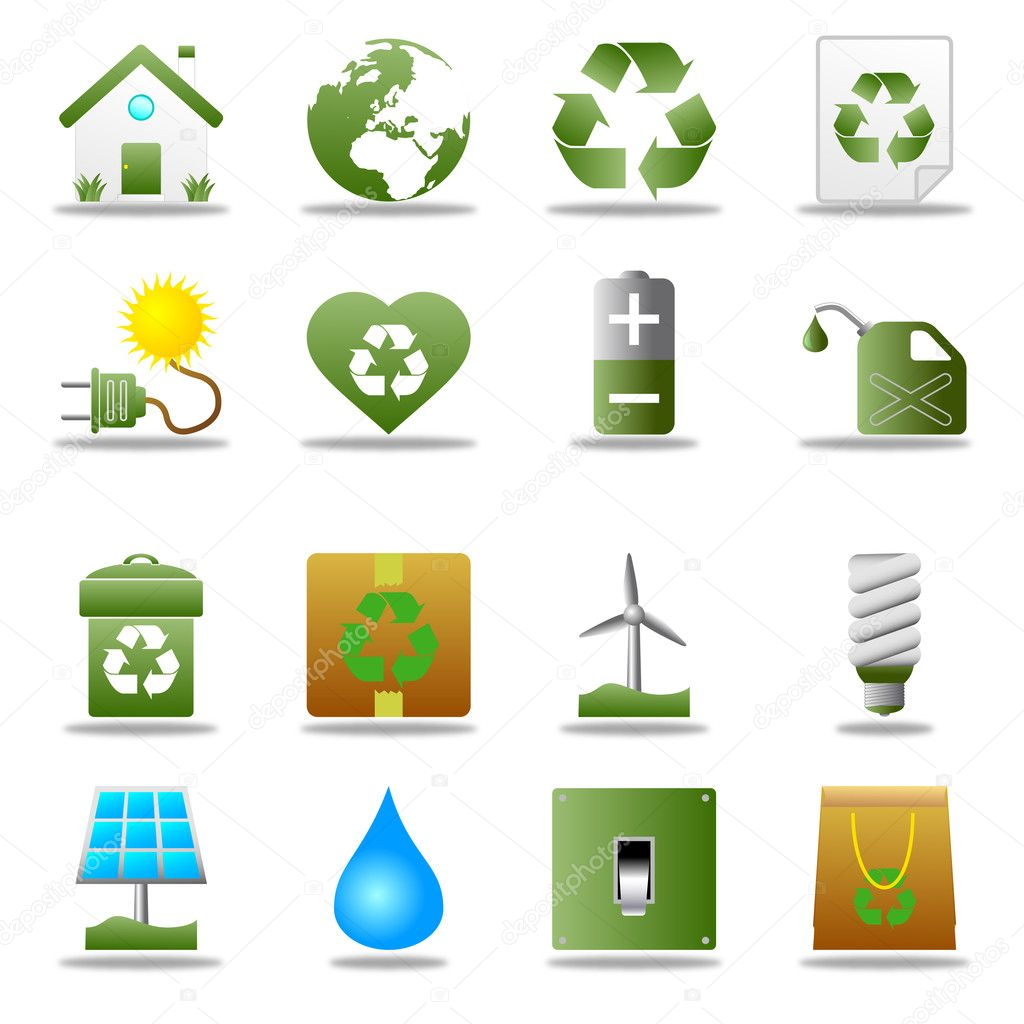 Collection of 16 colorful ecological and environmental icons, isolated on white background. — Imagen vectorial #3488442