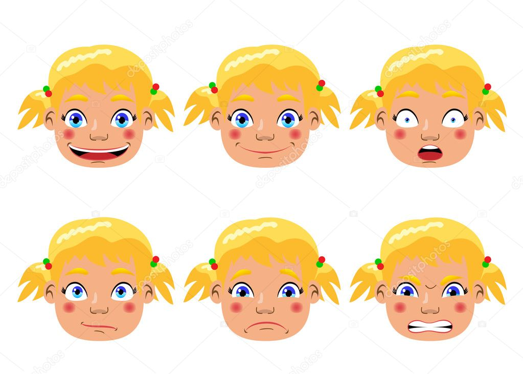 Set of different character expressions. Funny cartoon and vector illustration. Isolated objects. — Stock Vector #3531189