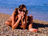 Teenager girl on the beach — Stock Photo