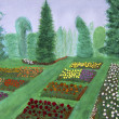 Rose Garden, Portland, Oregon watercolor painting — Stock Photo