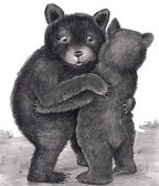 Bear Hug. Two bears hugging out in nature — Stock Photo