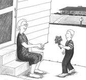 Boy giving grandmother flowers. — Stock Photo