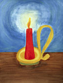 Red candle lighting up the dark blue night. — Stock Photo