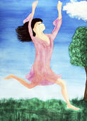 Leaping Lady in Between Heaven and Earth — Stock Photo