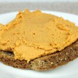 Red Pepper Hummus on Toast — Stock Photo