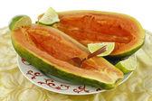 Two Halves of Papaya — Stock Photo