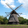 The old windmill in the funen village - Stock Photo