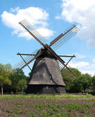 The old windmill in the funen village — Stockfoto