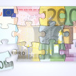 Royalty-Free Stock Photo: Mixed Euro Notes Puzzle with Separate Piece