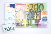 Mixed Euro Notes Puzzle with Separate Piece — Stock Photo