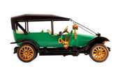 Toy collection scale model ancient green convertible car front view — Stock Photo