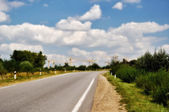 Road turn to industrial area — Stock Photo