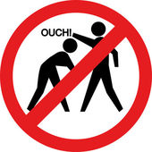 Ouch sign. Hitting and beating is forbidden — Stock Photo