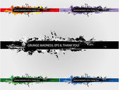 Grunge banners set in five colors — Stock Vector