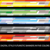 Digital style futuristic banners in five colors — Stock Vector