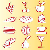Red Food Icons Part 1 — Stock Vector