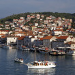 Boats and houses in Trogir — Stock Photo