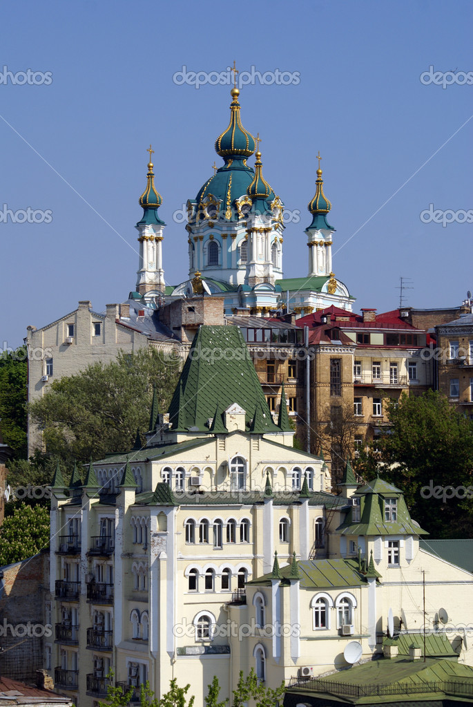 Church and houses in Kiev                     Stock Photo #3580882