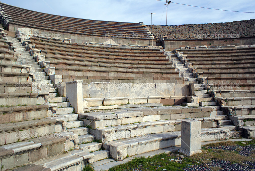 Old theater on ruins of Asklepion in Bergama, Turkey                  Stock Photo #3583273