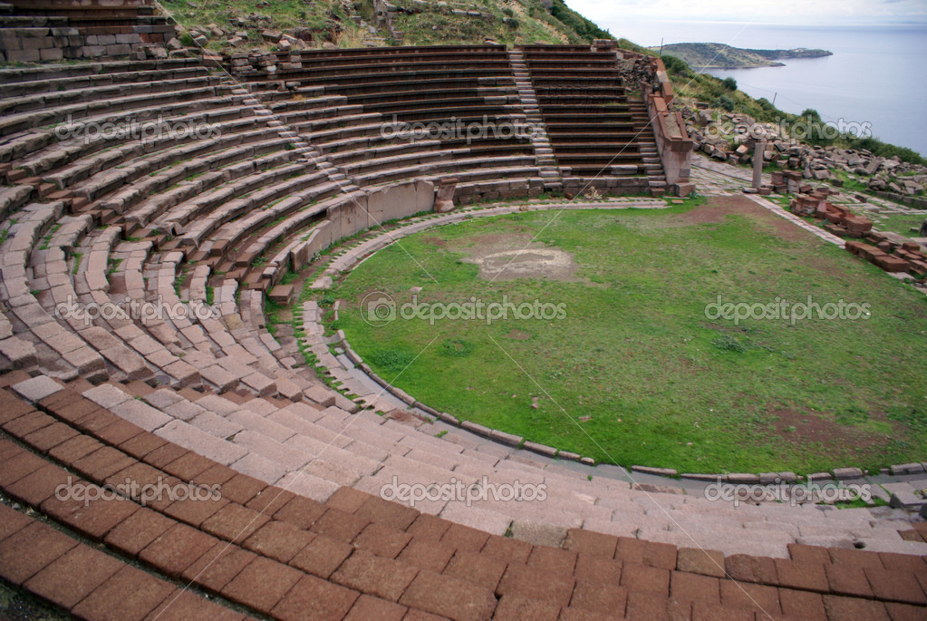 Theater on the slope of hill in Assos, Behramkale               — Stock Photo #3583816