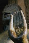 Palm and Buddha — Stock Photo