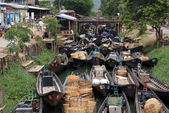 Boats in Nyaungshwe — Stock Photo